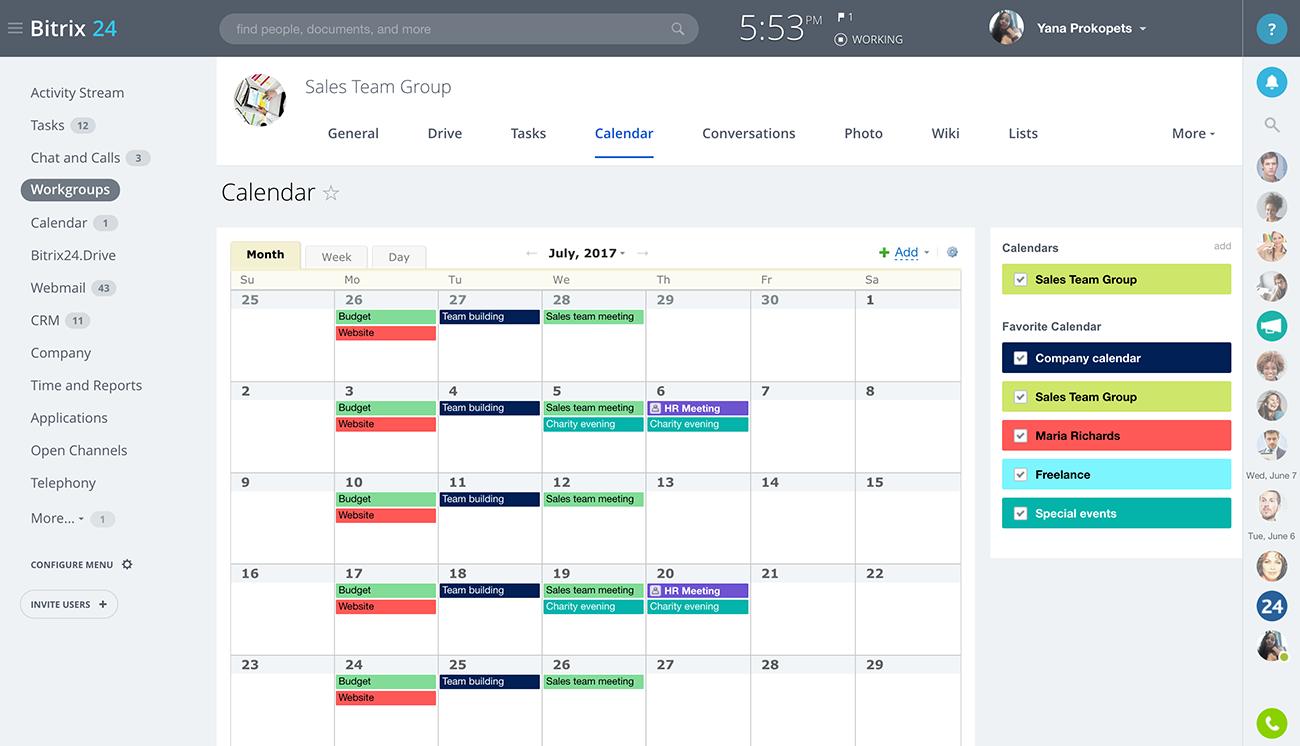 bitrix24 free shared calendars