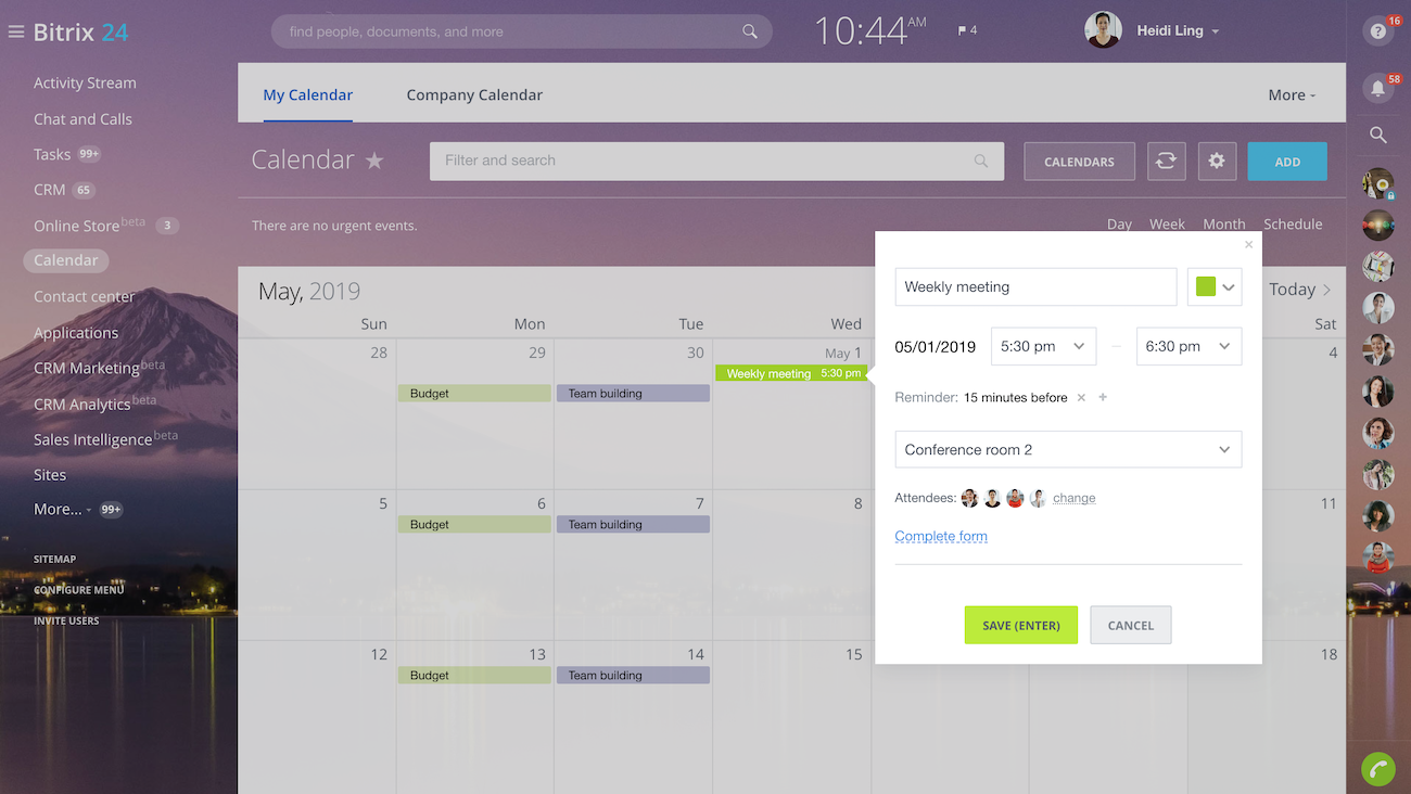 Bitrix24 online event planner for Software planner