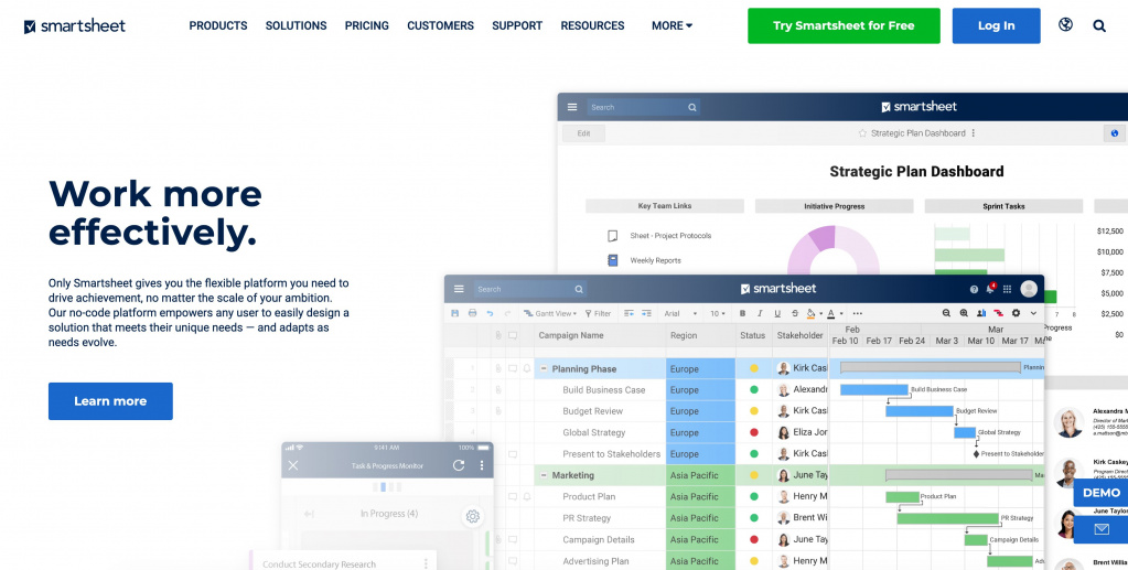 Smartsheet as basecamp alternative